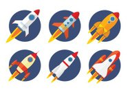 Space Travel Vehicle,Orange Color,Blue,Illustration,Missile,Computer Icon,2015,Flying,Flat,Spaceship,Red,Rocket,White Color,Cut Out,Rocket,Airplane,Vector,Yellow