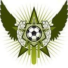 Soccer,Soccer Ball,Insignia,Laurel Wreath,Seal - Stamp,Vector,Sport,Pentagon,Wing,Star Shape,Color Image,Team Sports,Sports Symbols/Metaphors,Sports And Fitness,Green Color,Shape,Illustrations And Vector Art