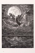 Moon,Gustave Dore,Engraved Image,Sailing Ship,Nautical Vessel,Sea,Tall Ship,Art,Bizarre,Night,Surreal,Fantasy,Sailing,Flying,Storytelling,Barons,Journey,Surrealism,Fairy Tale,Full Moon,Awe,Nursery Rhyme,Travel Locations,Black And White,Character Traits,Cultures,Concepts And Ideas,Out Of Context,Majestic,Historical Ship,Transportation