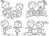 People,Activity,Friendship,Communication,Bonding,Cooperation,Sharing,Togetherness,Toy,Education,Outdoors,Indoors,Black And White,Book,Cheerful,Drawing - Art Product,Walking,Reading,Holding Hands,Summer,Childhood,Playing,Child,Cute,Outline,Illustration,Cartoon,Line Art,Group Of Objects,Two People,Boys,Girls,Organized Group,Elementary Age,Vector,Preschool Age,Children Only,Common,2015