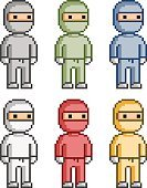 People,Instrument of Measurement,Armed Forces,Blue,Red,Yellow,Illustration,Pixelated,Vector,Collection,Ninja,2015,pixel art