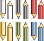 People,Pencil,Blue,Red,Yellow,Multi Colored,Backgrounds,Illustration,Pixelated,Vector,Collection,Background,2015,pixel art