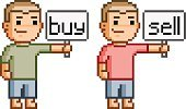 People,Business,Finance,Selling,Adult,Currency,E-commerce,Illustration,Pixelated,Mascot,Men,Vector,2015,pixel art