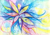 Painted Image,Watercolor Painting,Flower,Vibrant Color,Bright,Flowers,Arts And Entertainment,Arts Abstract,Blossom,Multi Colored,Nature