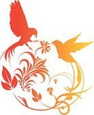 Bird,Two Animals,Pigeon,Love,Vector,Wing,Old-fashioned,Abstract,Ilustration,Rural Scene,Flower,Orange Color,Floral Pattern,Decoration,Plant,Beak,Red,Nature,Flowers,Birds,Illustrations And Vector Art,Leaf,Beautiful,Ideas,Stem,Animals And Pets