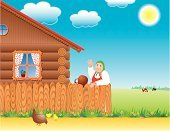 Grandmother,Village,Wood - Material,Fence,Chicken - Bird,Cow,Non-Urban Scene,Home Interior,Rural Scene,Plank,Window,Fun,Curtain,Sun,Field,Meadow,Single Flower,Illustrations And Vector Art,Nature,People,Vector Backgrounds,Summer,Sky,Cloud - Sky,Grass,Greeting,Headscarf,One Person,Summer