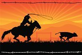 Cowboy,Horse,Lasso,Rodeo,Wild West,Texas,Silhouette,Cattle,Ranch,Calf,Herding,Sunset,Vector,Running,Rope,Rural Scene,Mountain,Horseback Riding,Barbed Wire,Landscape,Cowboy Hat,Fence,Sun,Rancher,Riding,Grass,Saddle,Summer,Morning,Sky,Standing,Male,Sunbeam,Land,One Person,Outdoors,Dusk,Sitting,Springtime,Outline,Uncultivated,Two Animals,Activity,Tail,Illustrations And Vector Art,Sports And Fitness,calf roping,Industry,Individual Sports,Agriculture