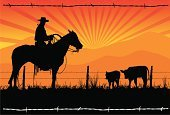 Cowboy,Texas,Wild West,Horse,Cattle,Ranch,West - Direction,Silhouette,Fence,Rancher,Landscape,Cowboy Hat,Vector,Horseback Riding,Herding,Mountain,Rural Scene,Barbed Wire,Rope,Sunrise - Dawn,Riding,Sun,Saddle,Grass,Land,Sunbeam,One Person,Three Animals,Outdoors,Sky,Sitting,Outline,Uncultivated,Standing,Dawn,Tail,Male,Summer,Morning,Illustrations And Vector Art,Agriculture,Springtime,Industry,Activity