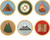 Symbol,Nature,Outdoors,Tent,Camping,Navigational Compass,Map,Tree,Fire - Natural Phenomenon,Pine Tree,Mountain,Campfire,Badge,Illustration,No People,Vector,Wilderness Area,Pinaceae,2015