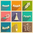 Hat,Gift,Confetti,Symbol,Birthday,Group of Objects,Illustration,Vector,Collection,Styles,EPS 10