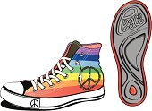 Symbols Of Peace,Shoe,Sole Of Shoe,Rainbow,Walking,Sport,Lace,Shoelace,Symbol,Clothing,Single Object,Multi Colored,White,Color Image,Fashion,Lifestyles,City Life,Vector Cartoons,Illustrations And Vector Art,Isolated Objects,Beauty And Health,Isolated On White,Isolated,Casual Clothing