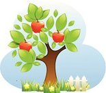 Fruit Tree,Fruit,Tree,Apple - Fruit,Fence,Vector,Flower,Cultivated,Ilustration,Leaf,Grass,Healthy Eating,Food,Nature,Sky,Gardens,Illustrations And Vector Art,Nature