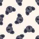 Nature,Animal Wildlife,Animal,Animal Markings,Farm,Pattern,Koala,Backgrounds,Zoo,Cute,Illustration,No People,Vector,2015,Seamless Pattern