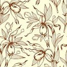 Nature,Plant,Pattern,Natural Pattern,Tropical Climate,Flower,Leaf,Flower Head,Tropical Flower,Backgrounds,Orchid,Ornate,Blossom,Pencil Drawing,Illustration,Floral Pattern,No People,Vector,Retro Styled,Lady's Slipper,66693,2015,1940-1949,Seamless Pattern,Flowering Plant,111645