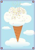 Ice Cream,Ice Cream Cone,Dreamlike,Sprinkles,Cloud - Sky,Candy,Cute,Food,Vector,Ilustration,Vanilla Ice Cream,Dessert,Frozen,Sweet Food,Blue,Food And Drink,Illustrations And Vector Art,White,Sky,Dairy Products,Fantasy,Indulgence,Cold - Termperature,Snack,Eating,Cloudscape