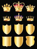 Crown,Shield,Coat Of Arms,Nobility,Gold Colored,Vector,Insignia,Purple,Ilustration,Red,Shiny,Computer Graphic,Green Color,Black Background,In A Row,Group of Objects,Digitally Generated Image,Medium Group of Objects,Vector Icons,Front View,Vector Ornaments,Copy Space,Holiday Symbols,Illustrations And Vector Art,Holidays And Celebrations,Vertical