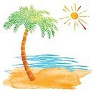 Sun,Landscape,Close-up,Paint,Paintings,Colors,Blue,Green Color,Orange Color,Yellow,Spotted,Tropical Climate,Tree,Water,Sun,Summer,Wave,Tropical Tree,Landscape,Palm Tree,Island,Sand,Sunbeam,Sea,Beach,Sunlight,Backgrounds,Coconut Palm Tree,Art Product,Art And Craft,Art,Color Image,Watercolor Painting,Illustration,Watercolor Paints,Painted Image,Group Of Objects,Brush Stroke,No People,Vector,White Background,2015,Isolated,Sunny