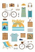 Clothing,Freshness,Vacations,Sunglasses,Tourist,Sea,Beach,Sunlight,Backpack,Adulation,Illustration,Group Of Objects,Vector,Travel,2015,Sunny