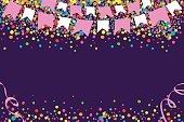 Bright,Vitality,Joy,Party - Social Event,Traditional Festival,Bright,Multi Colored,Backgrounds,Fun,Confetti,Streamer,Illustration,Celebration,Vector,Vibrant Color,2015,June Festival,Party Background,Background Vector,Confetti And Streamers