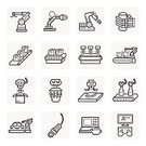Box - Container,Manufacturing Equipment,Industry,Robotic Arm,Conveyor Belt,Factory,Manufacturing,Car,Computer Icon,Robot,Automated,Illustration,No People,Vector,Merchandise,Robot Arm,Car Assembly,2015,Icon Set