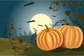 Pumpkin,Halloween,Bat - Animal,Vine,Fun,Ilustration,Cemetery,Moon,Full Moon,Vector,Holidays And Celebrations,Miniature Pumpkin,Nature,Composition,Two Objects,Nature Backgrounds,Fear,Friday,Vector Backgrounds,Spooky,Illustrations And Vector Art,Night,Grave,Concepts,Horizontal,Horror,Halloween,Celebration