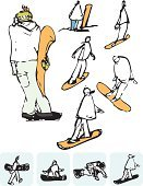 Snowboarding,Learning,Sports And Fitness,People,light blue,Black And White,Line Art,Snow
