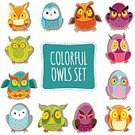 Emotion,Humor,Surprise,Symbol,Variation,Human Body Part,Human Face,Cheerful,Animal,Animal Markings,Gesturing,Bird,Multi Colored,Pattern,Owl,Small,Fun,Cute,Illustration,Doodle,Vector,Collection,Facial Expression,Owlet,2015,eps10