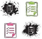Register,List,Symbol,Religious Icon,Iconset,Icon Set,Black Color,Dirty,Grunge,Illustrations And Vector Art,Ink,Vector Icons,Pink Color,White,Green Color