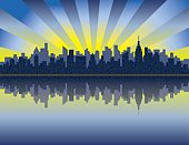 New York City,Urban Skyline,Manhattan,New York State,City,Cityscape,Sunrise - Dawn,Vector,Hudson River,Silhouette,Abstract,Ilustration,River,Built Structure,Urban Scene,Sun,Backgrounds,Horizon Over Water,Building Exterior,Skyscraper,Reflection,Travel,Sky,Blue,Dawn,Water,Downtown District,Morning,Outdoors,Sunbeam,Vector Backgrounds,Yellow,Architecture Backgrounds,Architecture And Buildings,Illustrations And Vector Art,Travel Locations,Travel Backgrounds
