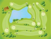 Golf,Aerial View,Map,Golf Course,Tree,Cartography,Scenics,Bush,Hole,Ilustration,Vector,Lake,Competition,House,Pond,Sport,Grass,Roof,Water,Organized Group,Green Color,Flag,Competitive Sport,Golf,Sports And Fitness,Nature,Landscapes