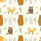 Computer Graphics,Nature,Animal Wildlife,Animal,Animal Markings,Multi Colored,Pattern,Bear,Squirrel,Owl,Tree,Branch,Leaf,Forest,Decoration,Backgrounds,Computer Graphic,Child,Zoo,Cute,Illustration,Vector,Collection,Backdrop,Single Object,2015,Bear,81352,Seamless Pattern