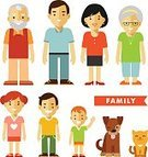 Community,People,Love,Happiness,Togetherness,Cheerful,Caucasian Ethnicity,Smiling,Parent,Father,Mother,Offspring,Daughter,Son,Grandmother,Grandfather,Family,White Color,Dog,Fun,Baby,Child,Teenager,Adult,Cut Out,Cute,Anthropomorphic Smiley Face,Illustration,Flat,Cartoon,Community,Group Of People,Males,Men,Boys,Females,Women,Teenage Girls,Organized Group,Portrait,Vector,Characters,Two Parents,Husband,Wife,2015,Male,Female