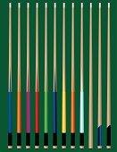 Pool Cue,Pool Game,Number 12,Sport,Vector,Leisure Games,Wood - Material,Pub,Green Color,Beige,Yellow,Collection,White,Objects/Equipment,Illustrations And Vector Art,Ilustration,Set,Sports And Fitness,Individual Sports,Blue,Orange Color,Purple,Red