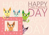 Happiness,Joy,Candy,Animal,Multi Colored,Domestic Cat,Day,Child,Greeting Card,Illustration,Young at Heart,Kitten,Vector,Holiday - Event,Children's Day,Children's Rights,2015,268299