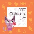 Joy,Candy,Animal,Multi Colored,Undomesticated Cat,Domestic Cat,Day,Child,Greeting Card,Illustration,Young at Heart,Kitten,Vector,Holiday - Event,Children's Day,Children's Rights,2015,268299