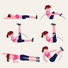 People,Strength,Lifestyles,Sport,Human Body Part,Recreational Pursuit,Aerobics,Stretching,Gym,Healthy Lifestyle,Exercising,Adult,Push-ups,Illustration,Relaxation Exercise,Health Club,Women,Vector,Abdominal Muscle,2015,The Human Body