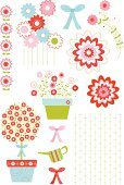 Flower Pot,Topiary,Watering Can,Formal Garden,Gardening,Flower Bed,Flower,Ornamental Garden,Daisy,Cute,Bow,Floral Pattern,Pink Color,Plant,Cosmos Flower,Vector,Bow,Vine,Ilustration,Springtime,Flower Head,Textile,Green Color,Multi Colored,Growth,Textile Industry,Red,Cheerful,Ornate,Beautiful,Gardens,Vector Florals,Flowers,Illustrations And Vector Art,Happiness,Nature
