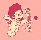Love,Horizontal,Cute,Cherub,Cupid,Valentine's Day - Holiday,Illustration,Pop Art,Bow and Arrow,No People,Colored Background,2015,Pink Background,Design Element,268399