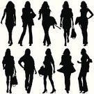 Silhouette,Women,Fashion,Fashion Model,Purse,Walking,Businesswoman,Vector,Ilustration,Elegance,Dress,Cool,Modern,Standing,Clip Art,Computer Graphic,Posing,Style,Looking At Camera,Haute Couture,Focus on Shadow,Fashion Forward,Isolated On White,Illustrations And Vector Art,Beauty And Health,People,Fashion