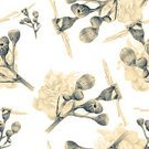 Romance,Nature,Square,Black And White,Drawing - Art Product,Plant,Multi Colored,Textile,Flower,Leaf,Flower Head,Springtime,Rose - Flower,Backgrounds,Abstract,Illustration,Grayscale,Template,Sketch,Textured,Group Of Objects,No People,2015,Seamless Pattern