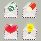 Love,Romance,Success,Wealth,Business,Finance,Receiving,Red,Backgrounds,Light Bulb,Messenger,Envelope,Currency,E-Mail,Abstract,Illustration,Vector,Mail,Send,Background,Single Object,2015,81352