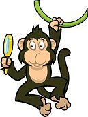 Character,Humor,Happiness,Symbol,Sign,Toy,Nature,Animal Wildlife,Cheerful,Animal,Magnifying Glass,Smiling,Playful,Animals In The Wild,Mammal,Brown,Ape,Monkey,Curiosity,Fun,Zoo,Cute,Illustration,Cartoon,Liana,One Animal,Animal Themes,Young Animal,Vector,Pets,Characters,Manga Style,2015