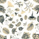 Nature,Square,Black And White,Drawing - Art Product,Pencil,Plant,Pattern,Flower,Branch,Leaf,Flower Head,Rose - Flower,Backgrounds,Hydrangea,California Golden Poppy,Abstract,Aster,Blossom,Illustration,Grayscale,Template,Sketch,Textured,No People,2015,Seamless Pattern