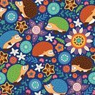 Fantasy,Nature,Animal Wildlife,Animal,Animal Markings,Pattern,Hedgehog,Summer,Autumn,Small,Forest,Backgrounds,Repetition,Child,Cute,Illustration,Vector,Background,2015,Seamless Pattern