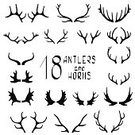 Elegance,Symbol,Sign,Trophy,Animal Wildlife,Animal,Horned,Antler,Mammal,Shape,Bull - Animal,Reindeer,Deer,Decoration,Cute,Illustration,Stag,Vector,Collection,2015