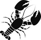 Symbol,Nature,Black And White,Directly Above,Animal,Crustacean,Black Color,Lobster - Animal,Computer Icon,Stencil,Illustration,Vector,Sea Life,2015