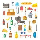 Drink,Food,Meat,Nature,Vacations,Outdoors,Basket,Sausage,Picnic,Radio,Design,Party - Social Event,Guitar,Fruit,Summer,Computer Icon,Hamburger,Barbecue,Ketchup,Steak,Picnic Basket,Illustration,Celebration,Flat,Burger,No People,Barbecue Grill,Vector,Travel,2015,Icon Set,