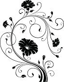 Flower,Floral Pattern,Single Flower,Vine,Black Color,White,Swirl,Symbol,Growth,Decoration,Leaf,Design,Ornate,Plant,Vector,Springtime,Simplicity,Computer Graphic,Scroll Shape,Ilustration,Pattern,Elegance,Backgrounds,Digitally Generated Image,Intricacy,Calligraphy,Curled Up,Style,Victorian Style,No People,Old-fashioned,White Background