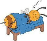 Happiness,Bed,Cheerful,Sheet,Blanket,Pillow,Sleeping,Insect,Bee,Cute,Illustration,Cartoon,Comfortable,Snoring,Vector,2015