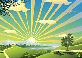 Computer Graphics,Freshness,Environment,Nature,Panoramic,Outdoors,Rural Scene,Label,Blue,Tree,Daisy,Summer,Dawn,Day,Meadow,Backgrounds,Scenics,Computer Graphic,Grass,Illustration,No People,Vector,Morning,Background,2015